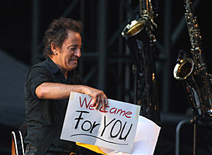 Bruce Springsteen with For You sign