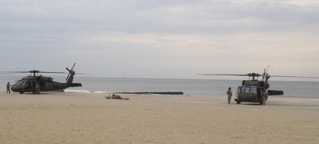Blackhawks on Avon beach
