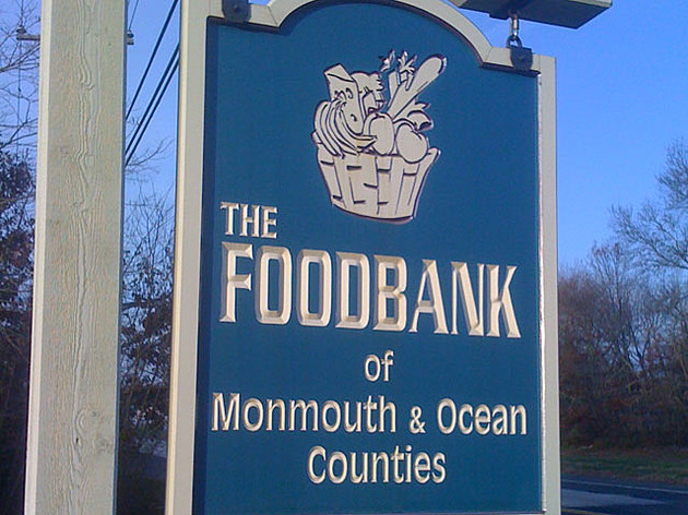 A sign outside the FoodBank of Monmouth & Ocean Counties in Neptune