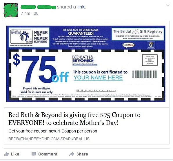 Bed Bath And Beyond Mothers Day Scam