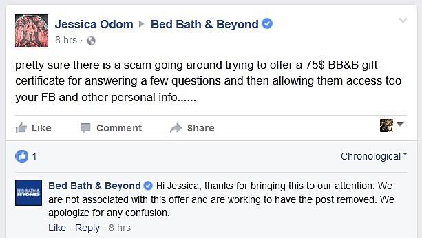 bed bath beyond scam